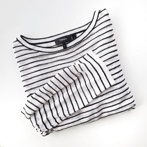 Theory Trinella Linen Black and White Striped Top